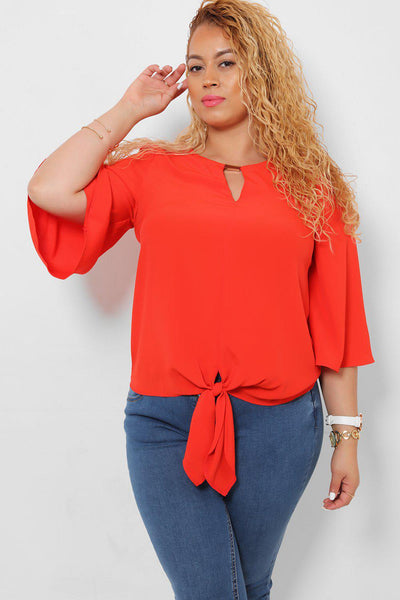 Metal Bar Neckline Coral Top-SinglePrice