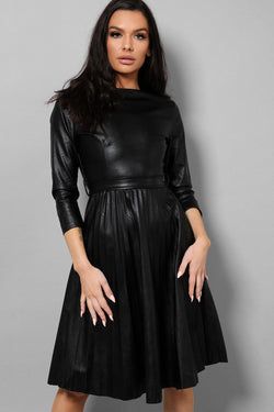 Black Vegan Leather Self-Belt Pleated Skater Dress - SinglePrice