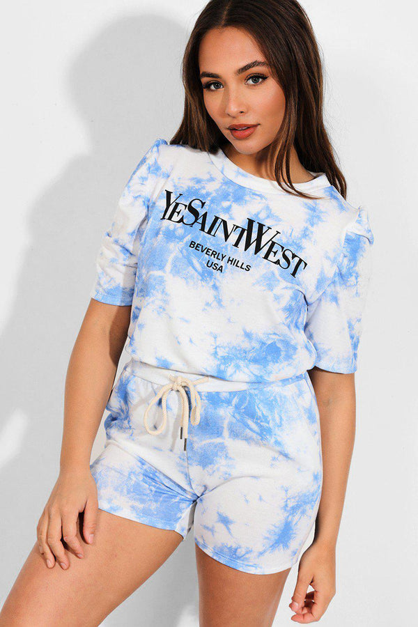 Dark Blue Tie Dye Slogan Puff Sleeves Top And Hot Pants Set-SinglePrice