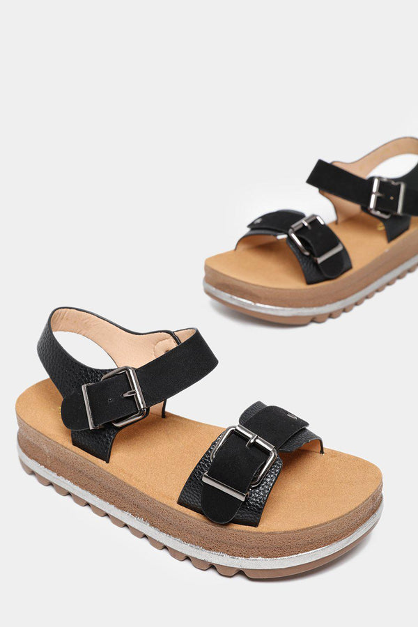 Black Mixed Textures Chunky Sandals-SinglePrice