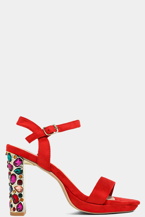 Red Jewelled Block Heel Sandals-SinglePrice