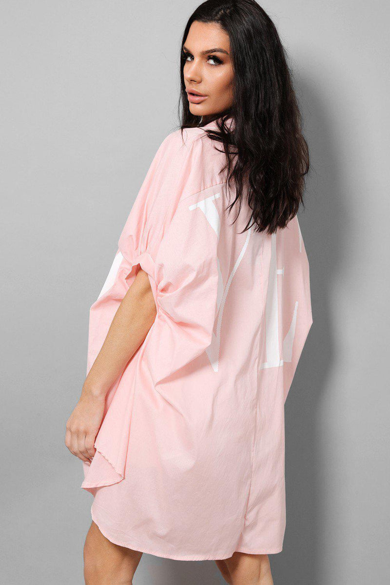 LOVE Slogan Pink Puff Sleeves Oversized Longline Shirt - SinglePrice