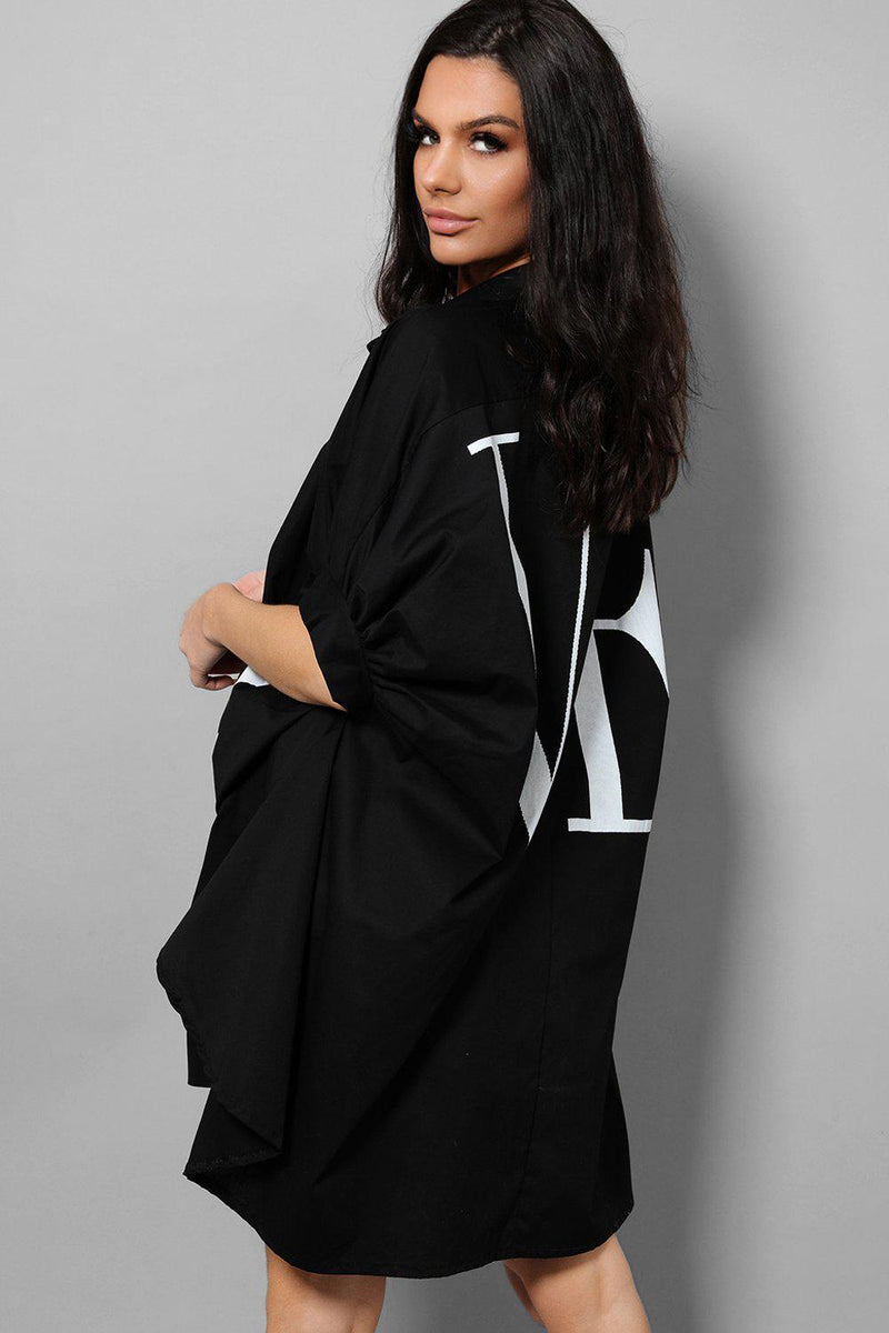 LOVE Slogan Black Puff Sleeves Oversized Longline Shirt - SinglePrice