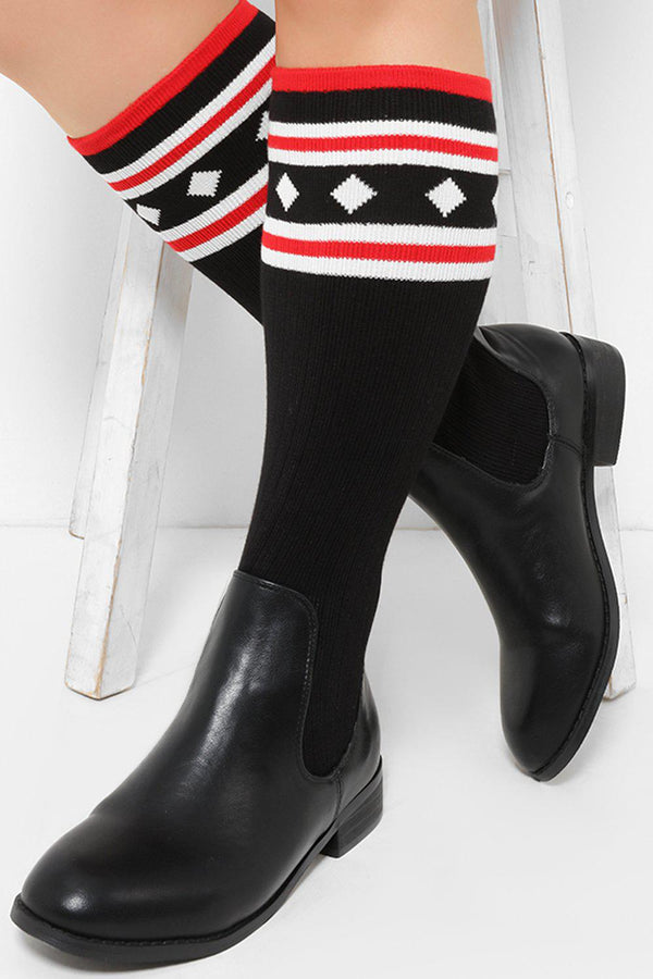 Black Knee High Printed Knitted Sock Boots