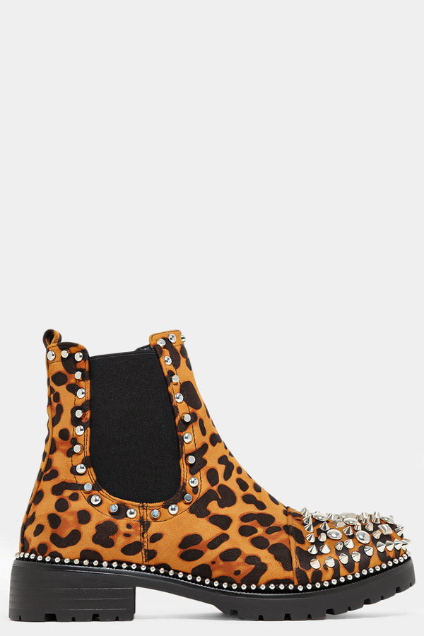 Leopard Print Spiky Toe Cup Chelsea Boots-SinglePrice