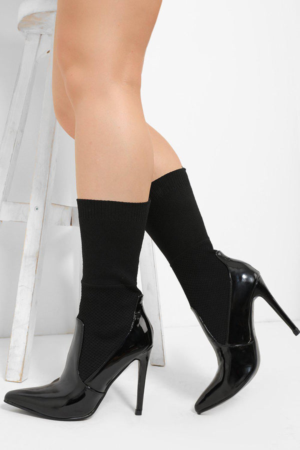 Patent Black Knee High Textured Sock Stiletto Heels-SinglePrice