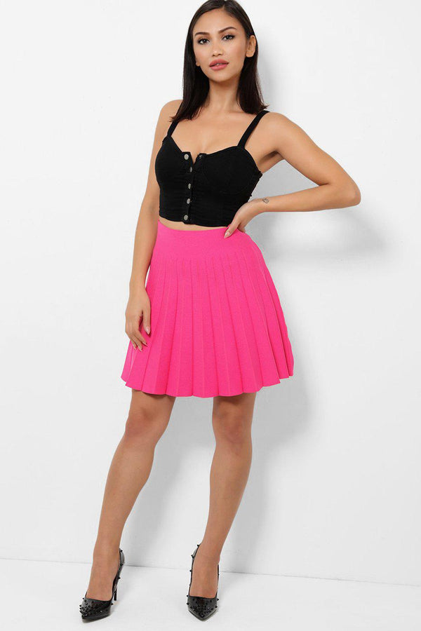 Pink Pleated Bandage Skirt-SinglePrice
