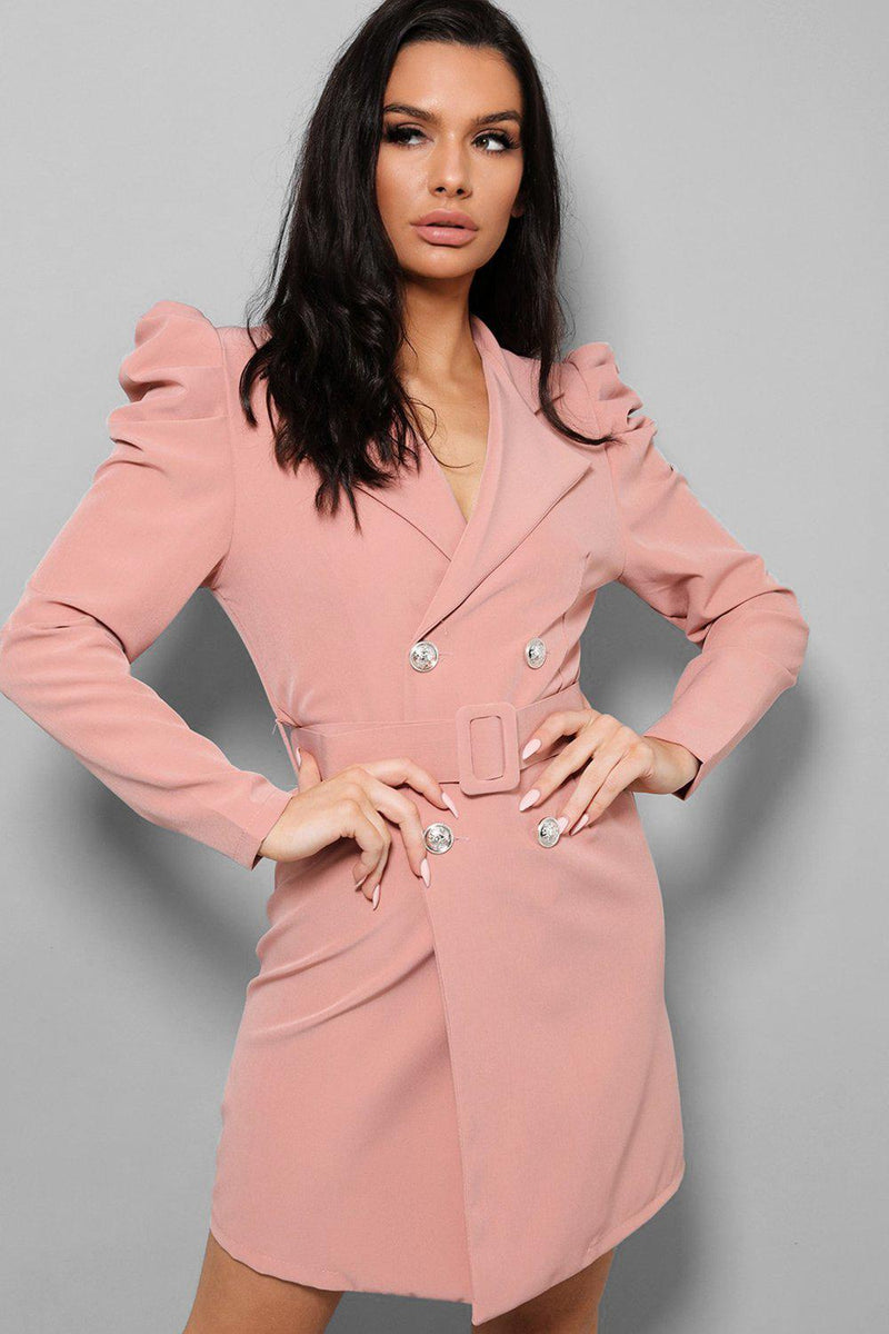 Pink Puff Sleeves Self-Belt Double Breasted Blazer Dress - SinglePrice