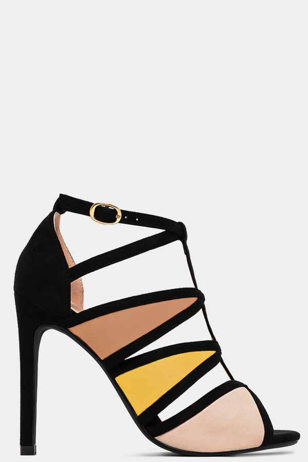 Beige Colourblock Cut Out High Heels - SinglePrice