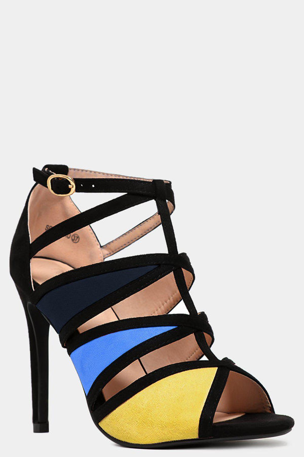 Yellow Colourblock Cut Out High Heels - SinglePrice