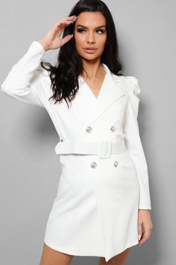 White Puff Sleeves Self-Belt Double Breasted Blazer Dress - SinglePrice