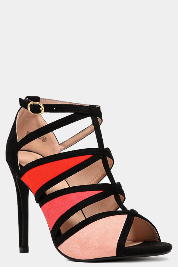Pink Colourblock Cut Out High Heels - SinglePrice
