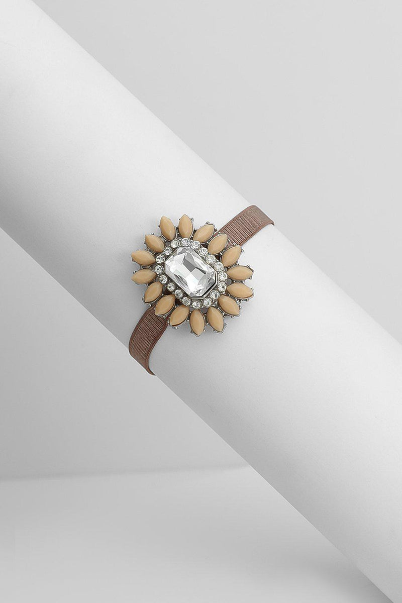 Taupe Jewelled Flower Stretchy Bracelet - SinglePrice