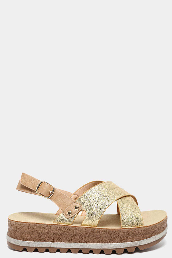 Gold High Shine Straps Chunky Sandals-SinglePrice