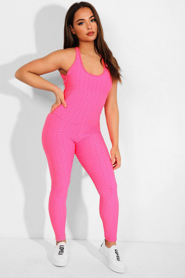 Neon Pink Ruched Texture Catsuit - SinglePrice