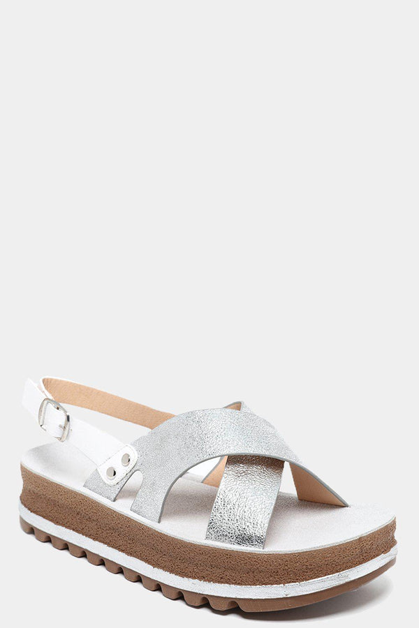 Silver High Shine Straps Chunky Sandals-SinglePrice