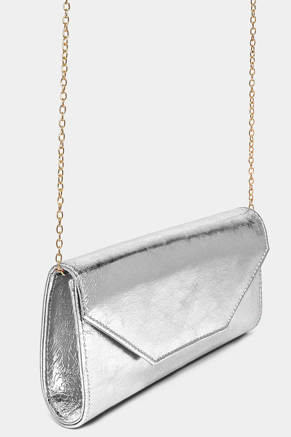 Metallic Finish Silver Classic Clutch-SinglePrice