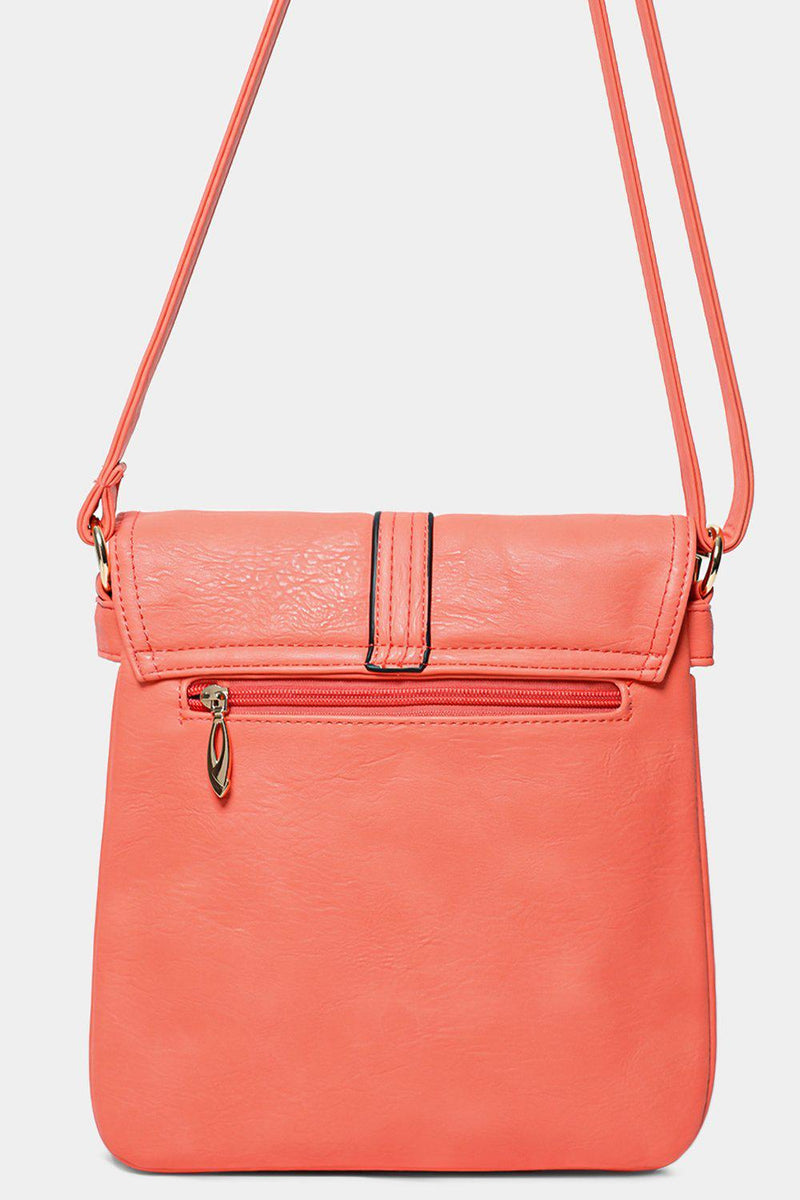 Pink Golden Hardware Front Flap Cross Body Bag - SinglePrice