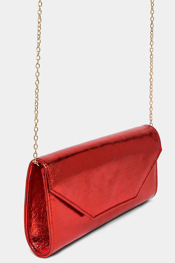 Metallic Finish Red Classic Clutch-SinglePrice
