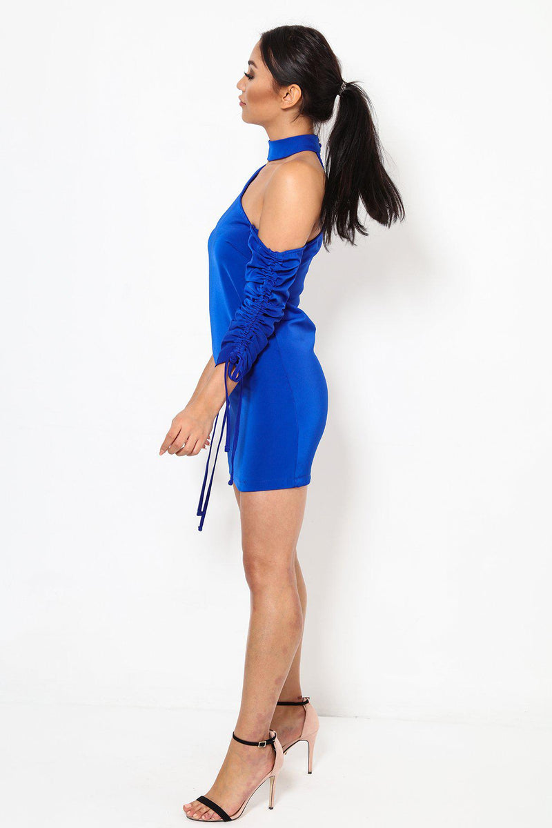 Drawstring Sleeves Asymmetric Cold Shoulder Blue Dress-SinglePrice