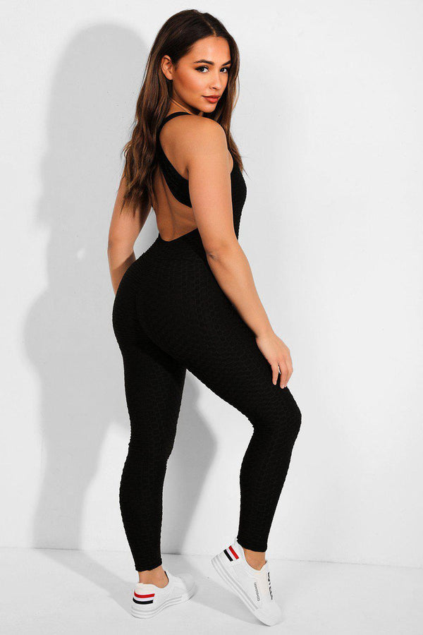 Black Ruched Texture Catsuit - SinglePrice