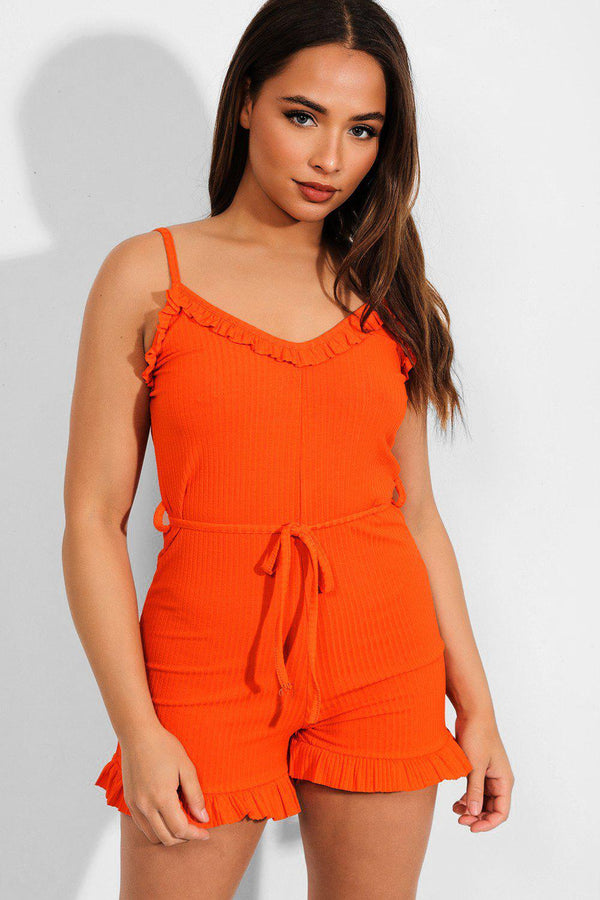 Orange Frill Trims Ribbed Cami Playsuit - SinglePrice
