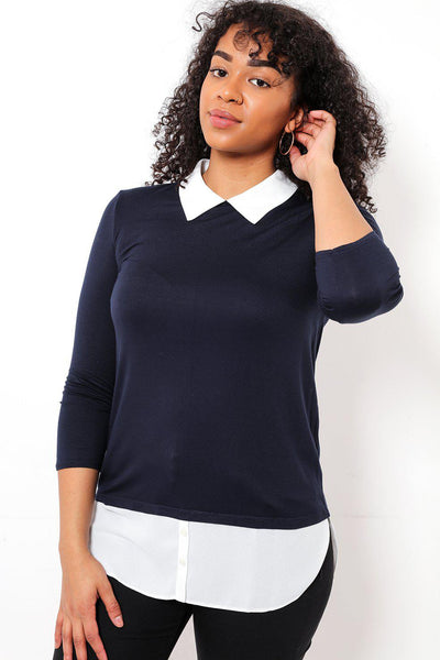 2-In-1 Faux White Blouse & Navy Jumper-SinglePrice