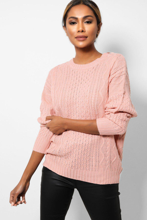 Pink Cable Knit Bow Tie Back Jumpers