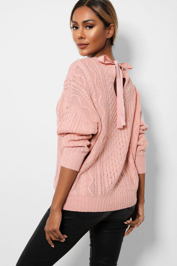Pink Cable Knit Bow Tie Back Jumpers-SinglePrice