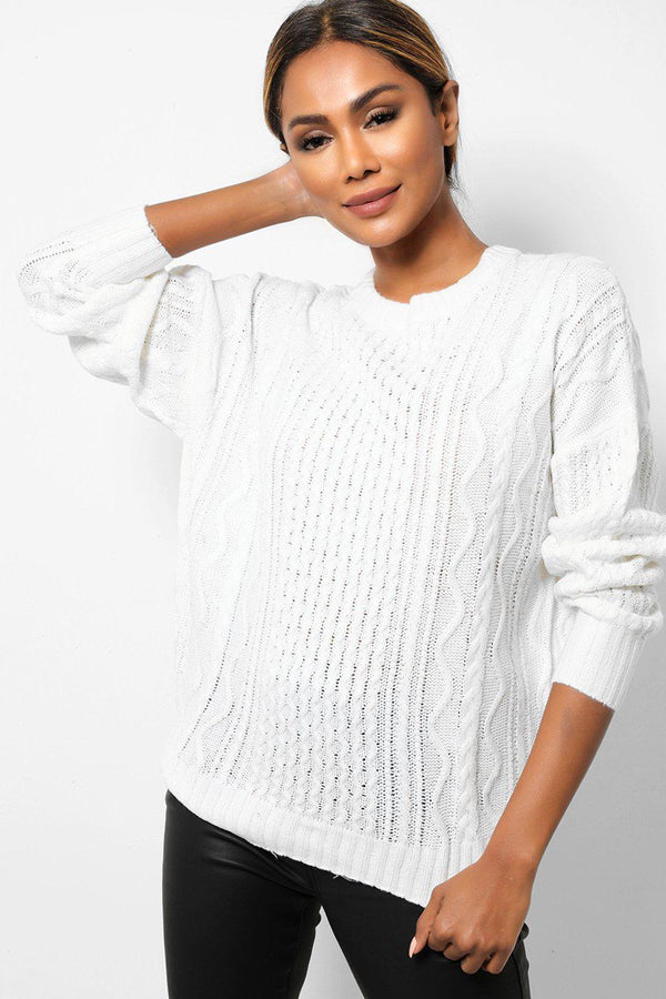 White Cable Knit Bow Tie Back Jumpers