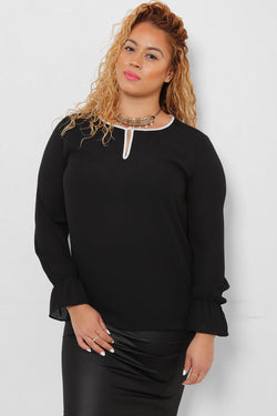 White Trims Black Blouse - SinglePrice