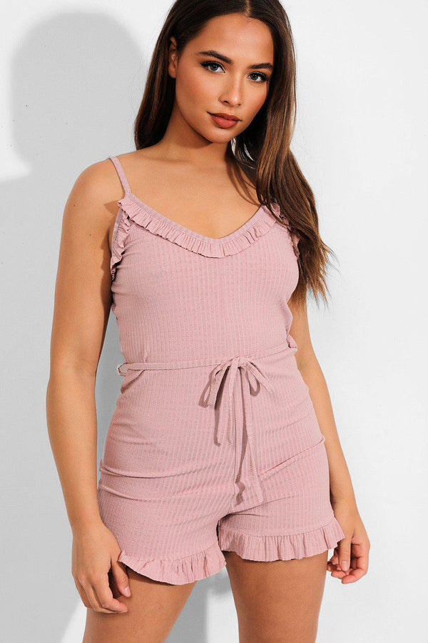 Pink Frill Trims Ribbed Cami Playsuit - SinglePrice
