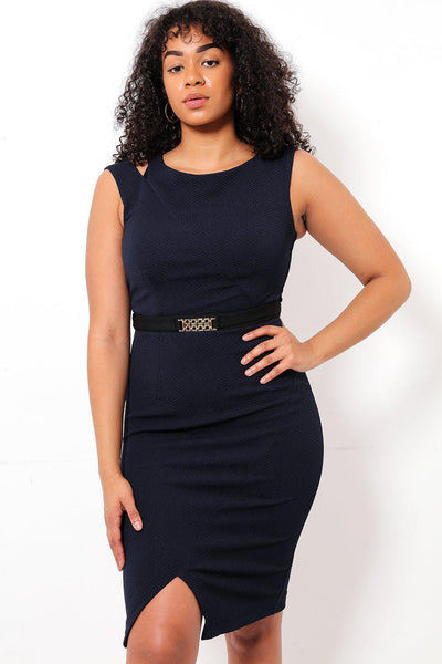 Cut Out Shoulder Belt Waist Navy Dress-SinglePrice