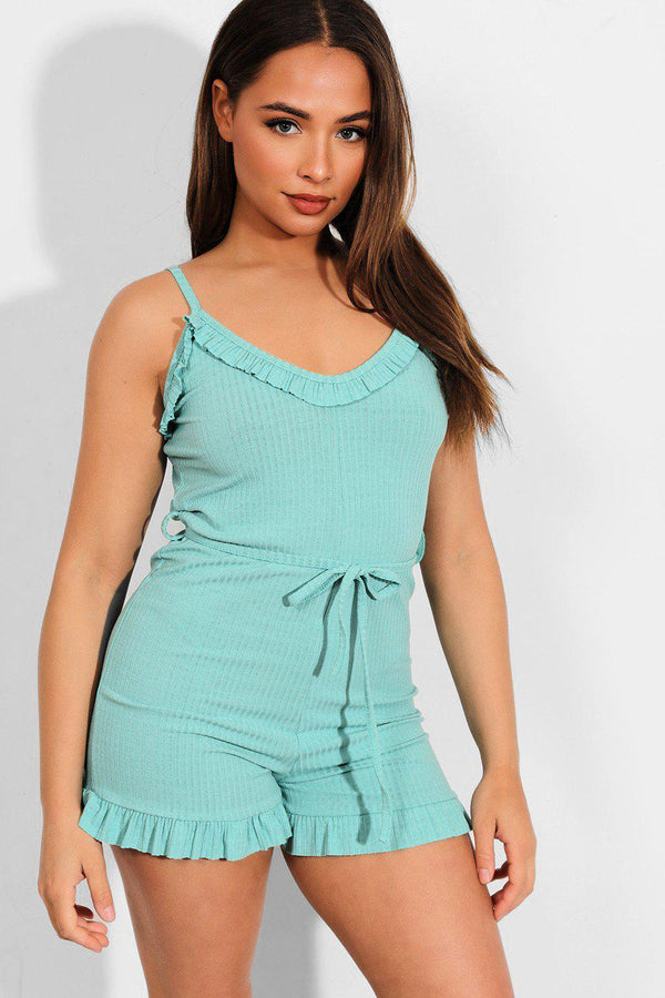 Mint Frill Trims Ribbed Cami Playsuit - SinglePrice