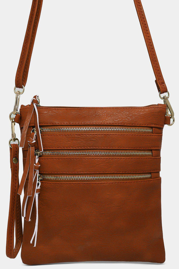 Brown Zip Details Mini Crossbody Bag - SinglePrice
