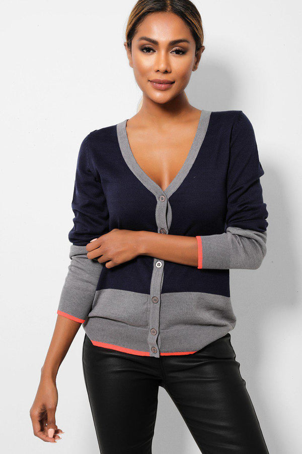 Navy Grey Colourblock Button Front Cardigan-SinglePrice