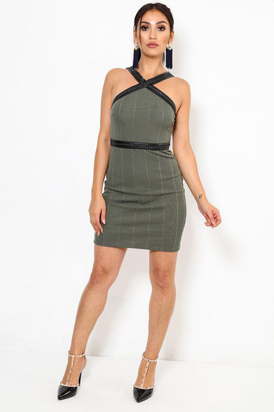 Chain Trim Khaki Bodycon Dress-SinglePrice