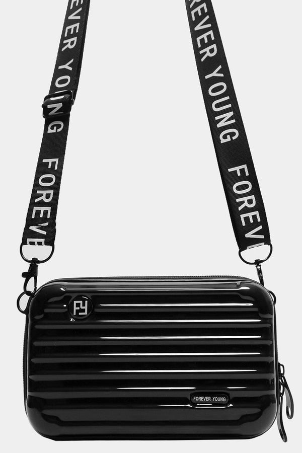 Black Slogan Shoulder Strap Mini Luggage Case Handbag - SinglePrice