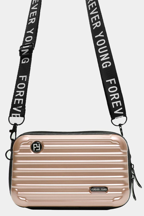 Gold Slogan Shoulder Strap Mini Luggage Case Handbag - SinglePrice