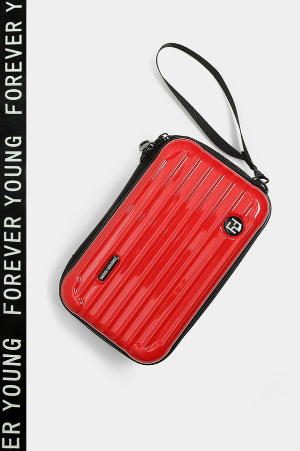 Red Slogan Shoulder Strap Mini Luggage Case Handbag - SinglePrice