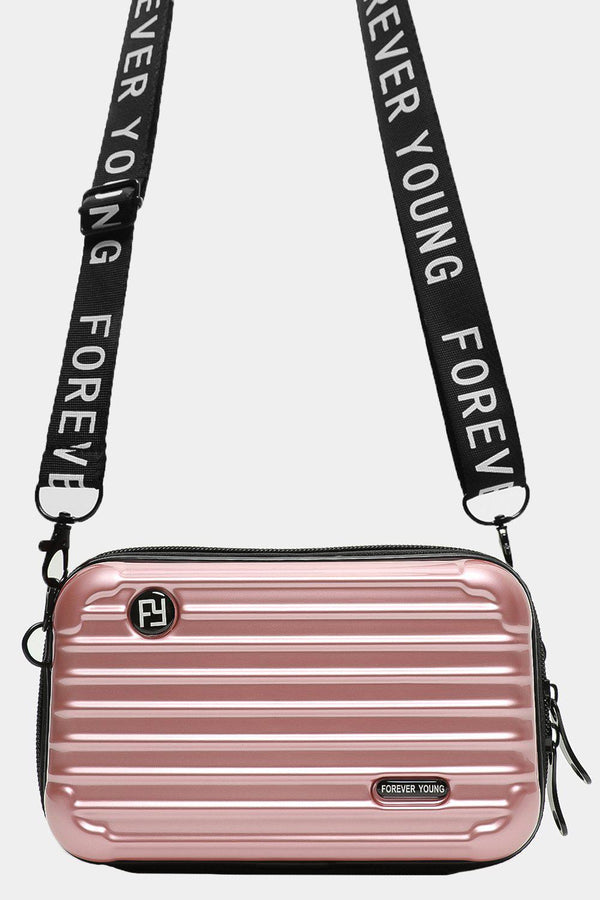 Rose Gold Slogan Shoulder Strap Mini Luggage Case Handbag - SinglePrice