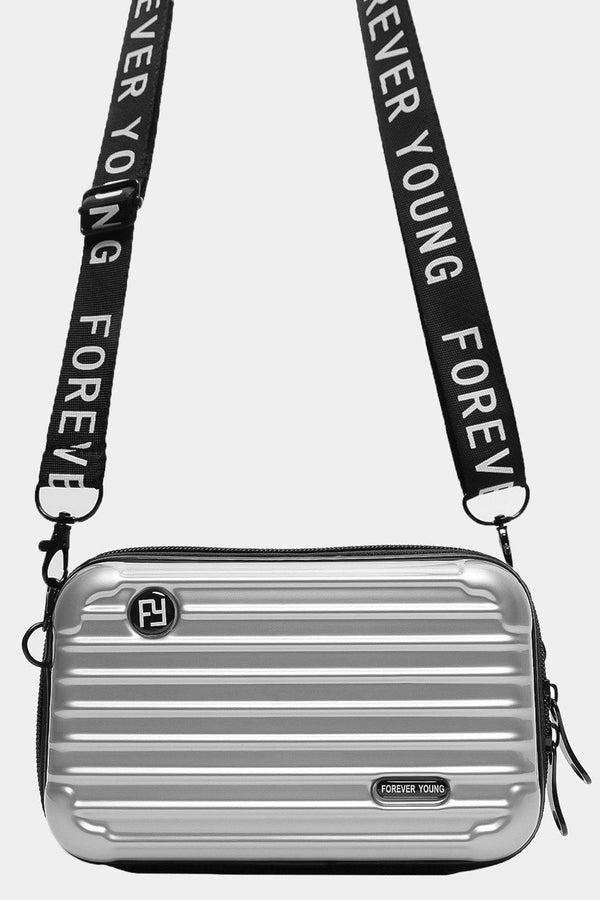Silver Slogan Shoulder Strap Mini Luggage Case Handbag - SinglePrice