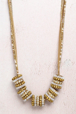 Gold Beaded Large Slider Charms Necklace - SinglePrice