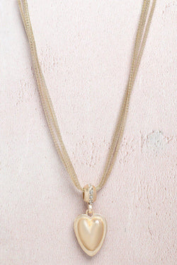 Gold Jewelled Heart Multi Chain Necklace - SinglePrice