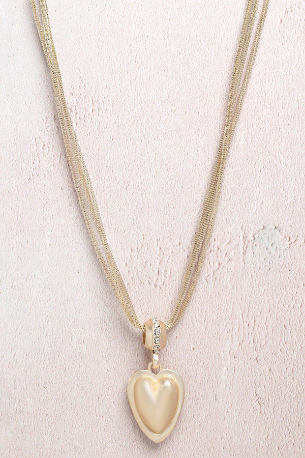 Gold Jewelled Heart Multi Chain Necklace-SinglePrice