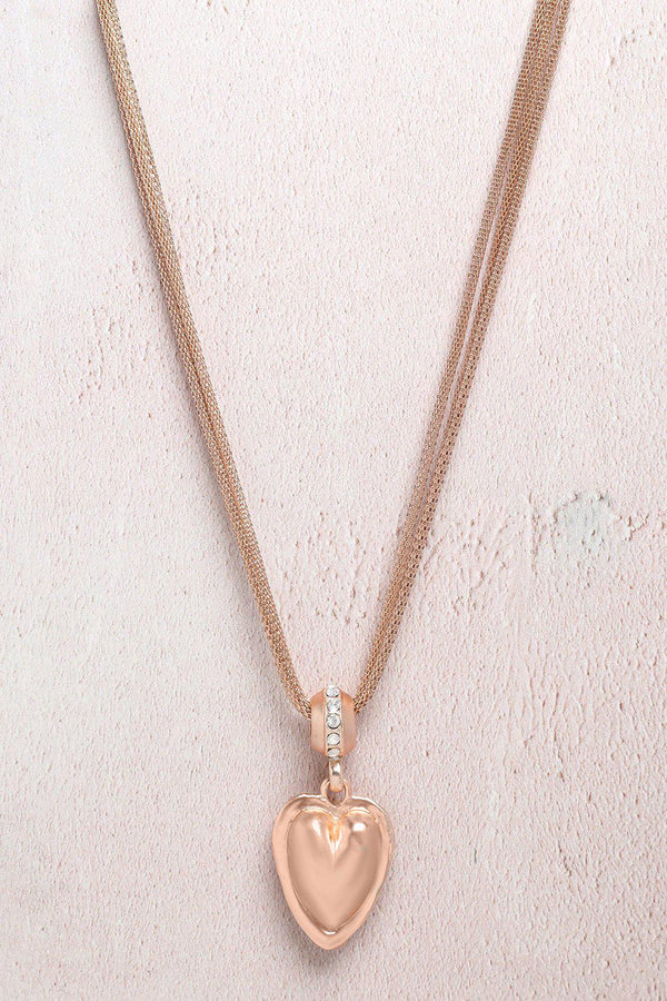 Rose Gold Jewelled Heart Multi Chain Necklace-SinglePrice