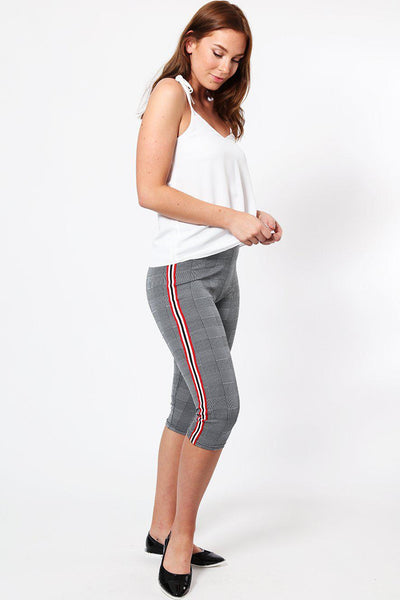 Red And White Stripe Grey Checked Capri Leggings-SinglePrice