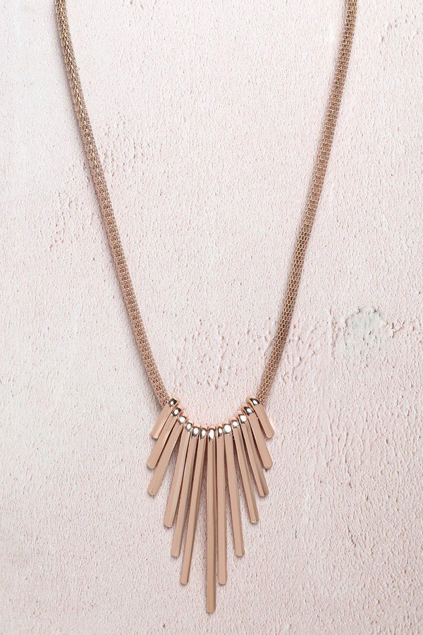 Rose Gold Gradual Spikes Necklace-SinglePrice