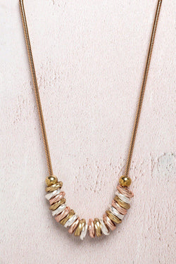 Tricolour Slider Charms Gold Necklace - SinglePrice