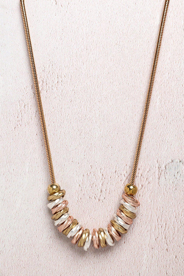 Tricolour Slider Charms Gold Necklace-SinglePrice